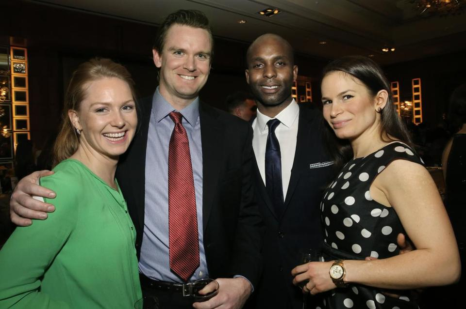 2-6-2015 Boston, Mass. 400 guests attended Veterans Legal Services Annual Gala held at the Mandarin Oriental Hotel. L. to R. are Jennifer Rutherford of Boston, Tim Sheridan of South Boston, Senam Kumahia of Boston and Lara Shkordoff of Boston. Globe photo by Bill Brett